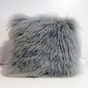 Mongolian Lamb Fur Wool Light Gray Pillow 16 x 16